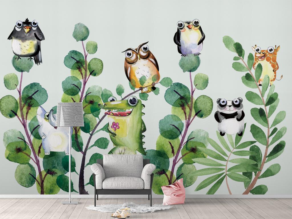 北欧手绘卡通动物植物背景墙壁纸壁画