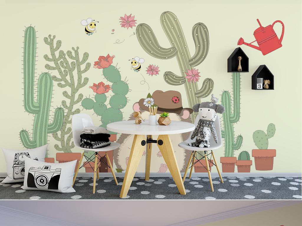 卡通儿童背景墙北欧森系手绘小动物图片设计素材_高清