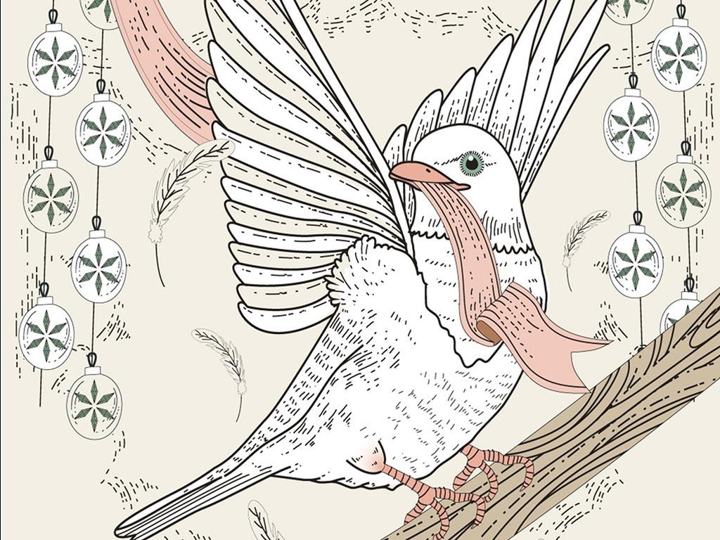 森系手绘小动物装饰画北欧无框画三联画