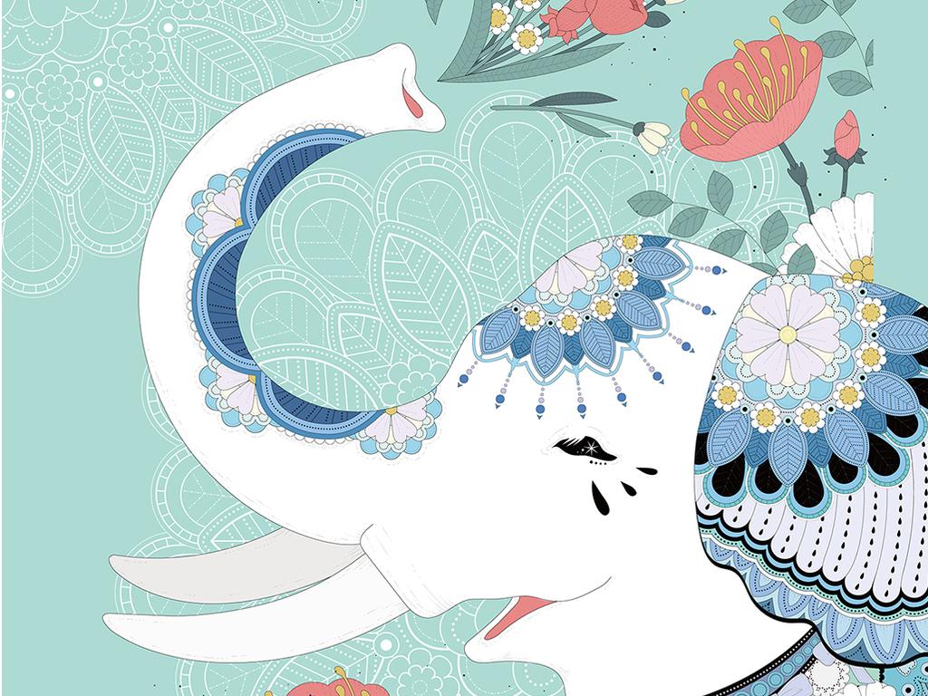森系蓝色手绘小动物装饰画北欧无框画猫