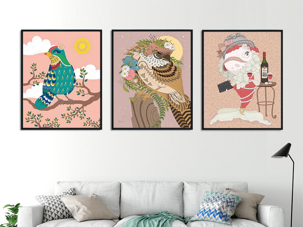 森系花鸟手绘小动物装饰画北欧无框画三联画