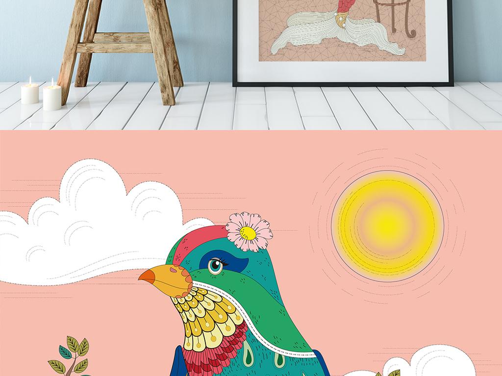 森系花鸟手绘小动物装饰画北欧无框画三联画 矢量图, cmyk格式高清大