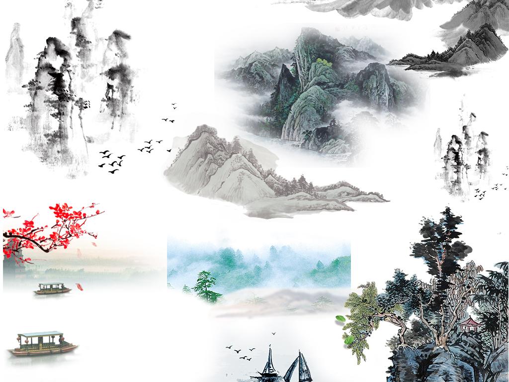 古风中国风水墨山水透明背景PNG素材图片
