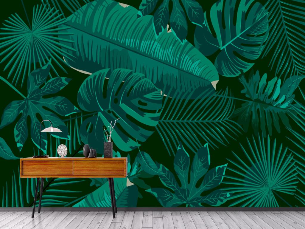 手绘简约芭蕉叶雨林客厅背景墙图片
