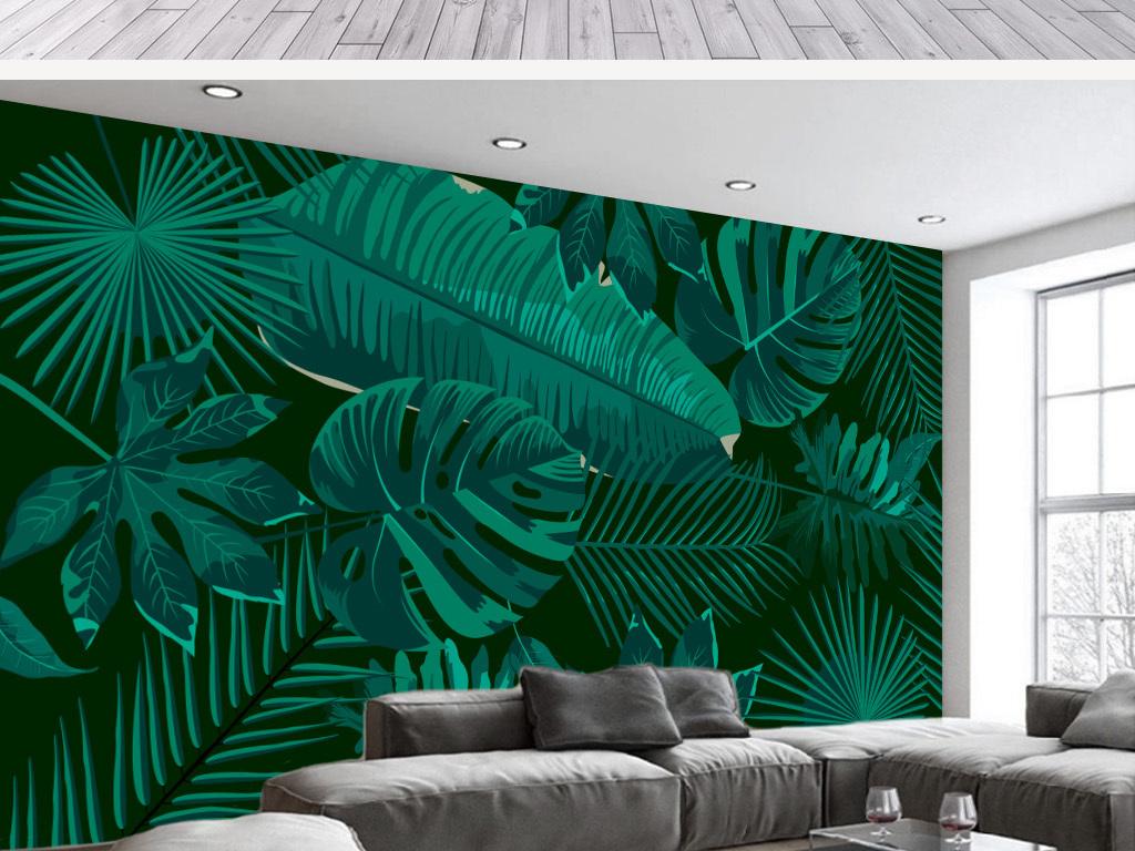背景墙|装饰画 电视背景墙 手绘电视背景墙 > 手绘简约芭蕉叶雨林客厅