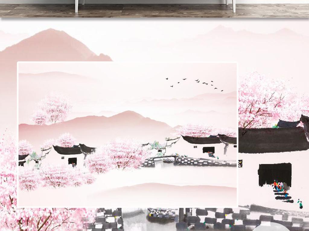 背景墙 电视背景墙 彩雕电视背景墙 > 新中式三生三世十里桃花  素材