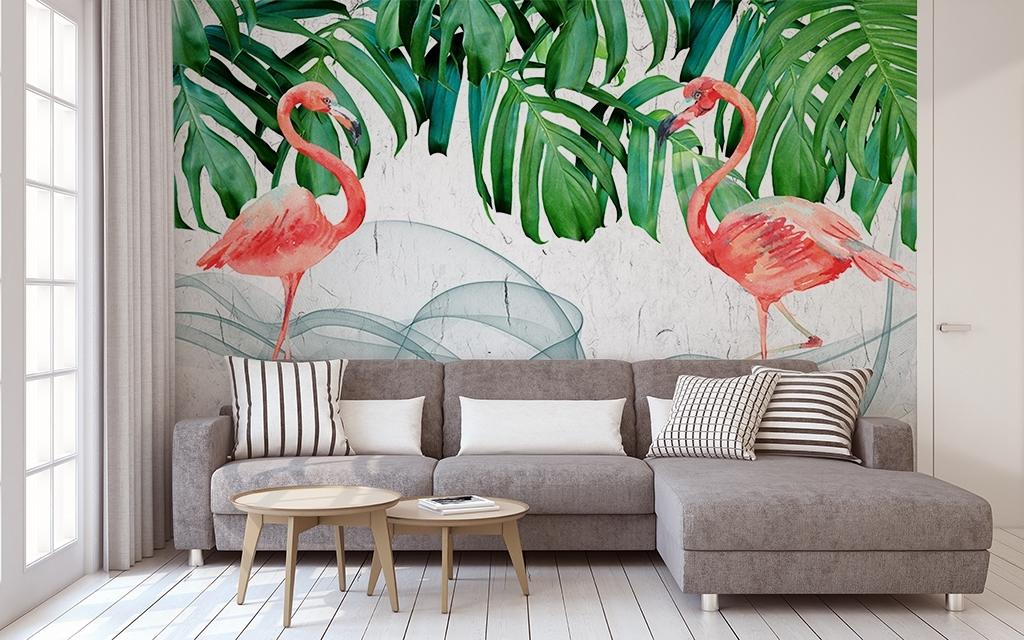 北欧绿色植物火烈鸟手绘背景墙装饰画