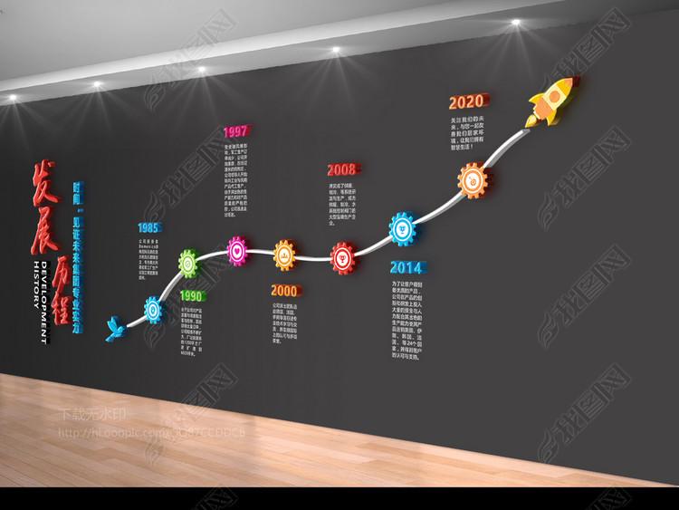 企业文化墙大气设计发展历程形象墙效果图