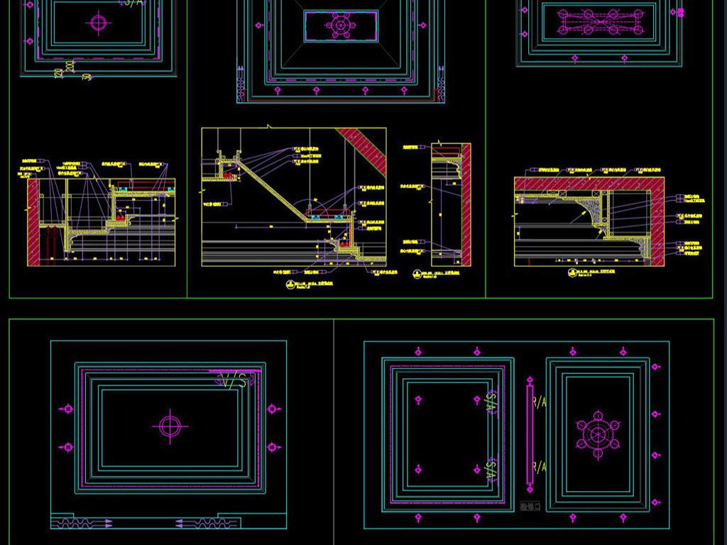 新款吊顶天花美式法式中式欧式cad平面设计图下载(38.图片