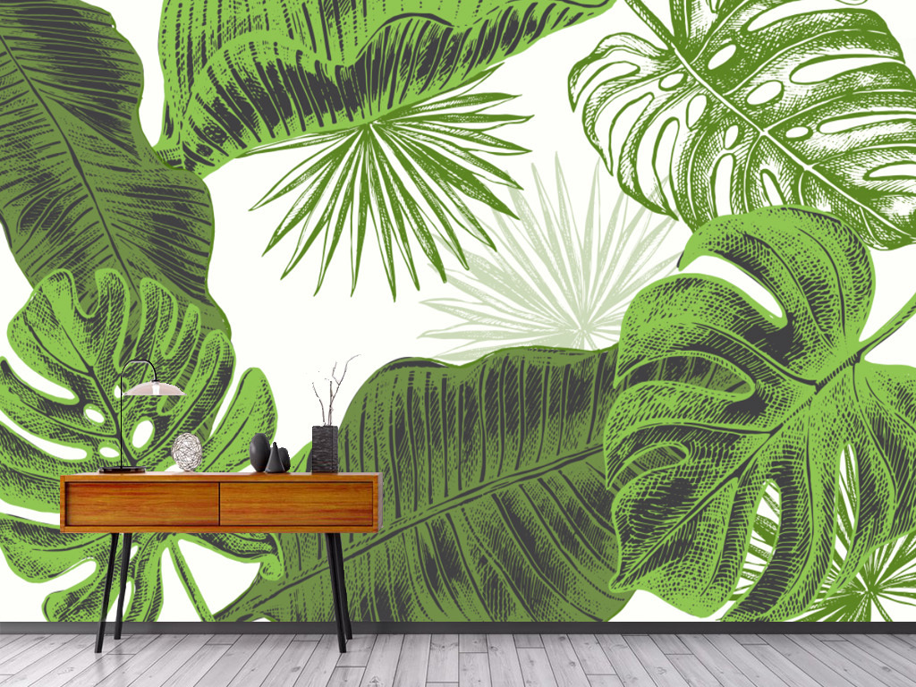 高清手绘芭蕉叶树叶装饰背景墙
