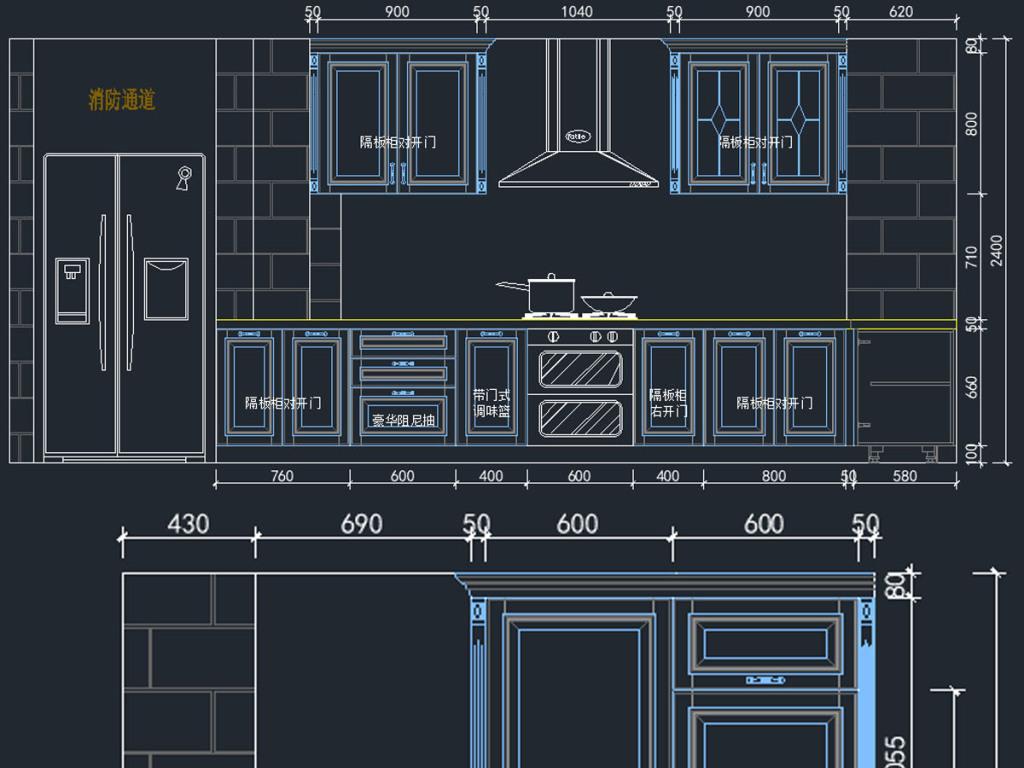 cad图库 室内设计cad图库 cad图纸 > 欧式橱柜cad图纸  版权图片 分享