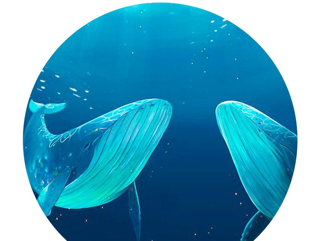北欧现代蓝色海岸鲸鱼海鸥冰川风景装饰画