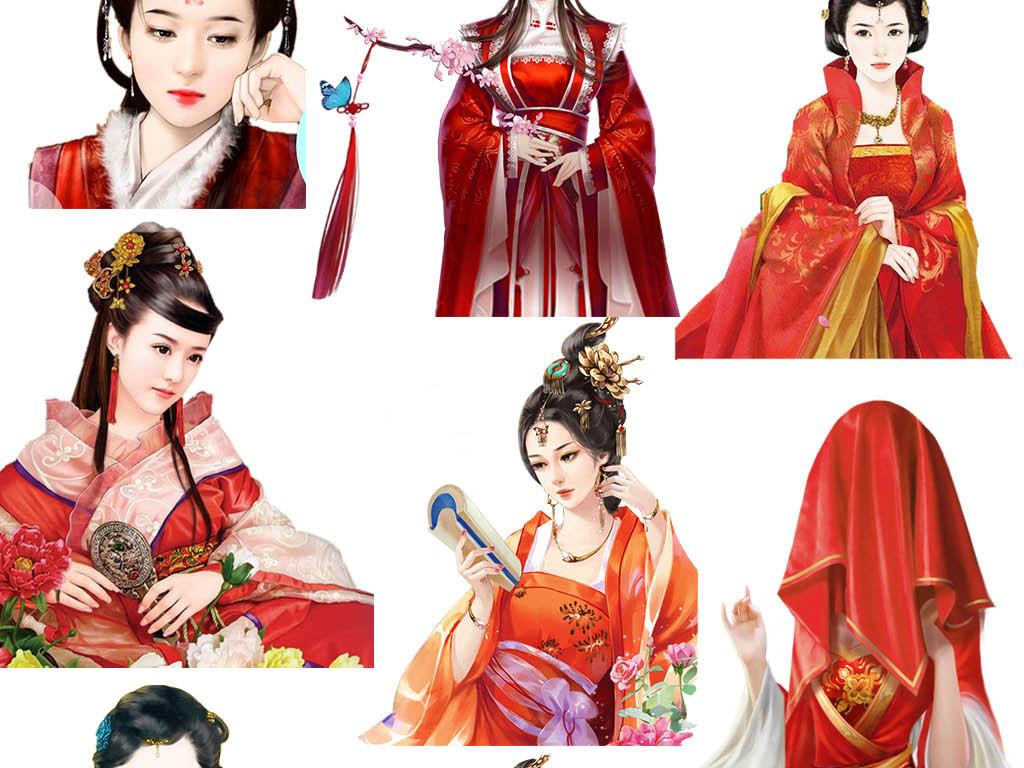 卡通手绘古典红衣古装美女身穿红衣女子素材