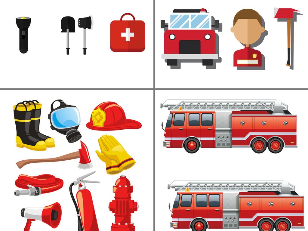 卡通消防安全元素图标110灭火设计海报素材