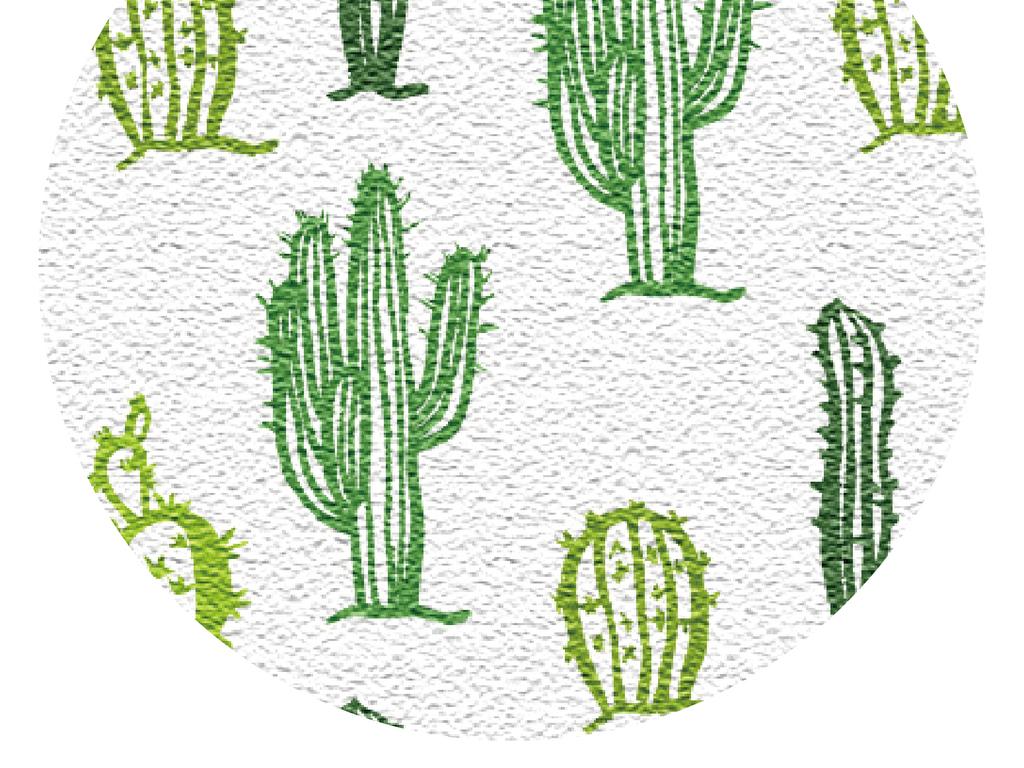 创意北欧手绘仙人掌无缝拼接儿童房客厅墙纸