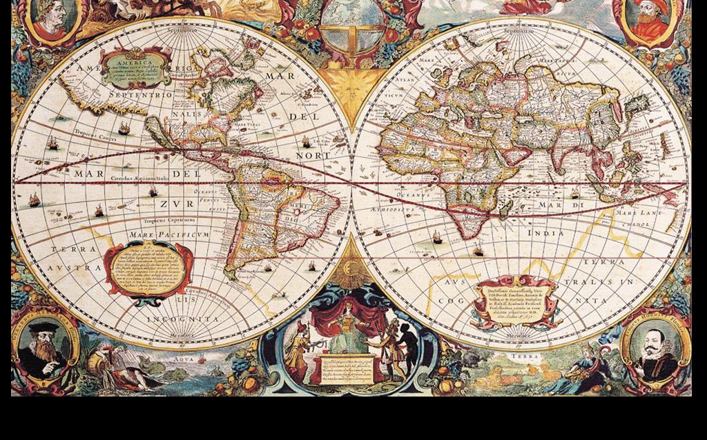 复古欧式世界地图中世纪航海图背景墙