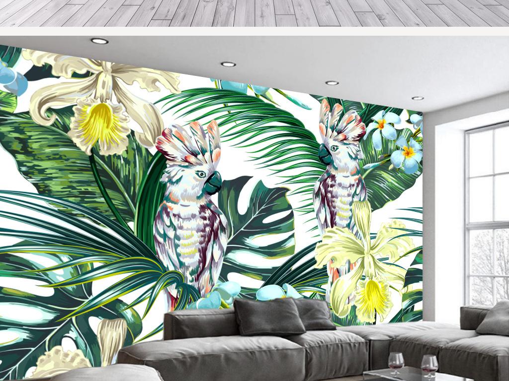 背景墙|装饰画 电视背景墙 手绘电视背景墙 > 高清手绘芭蕉叶鹦鹉装饰