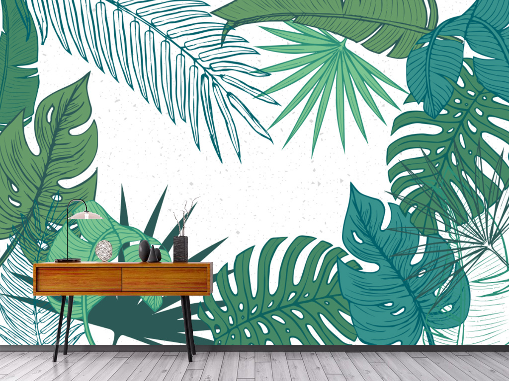 手绘复古芭蕉叶叶子装饰背景墙图片