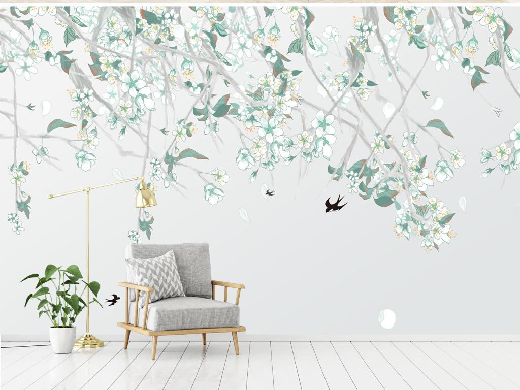 电视背景墙 手绘电视背景墙 > 小清新植物客厅背景墙现代简约北欧风