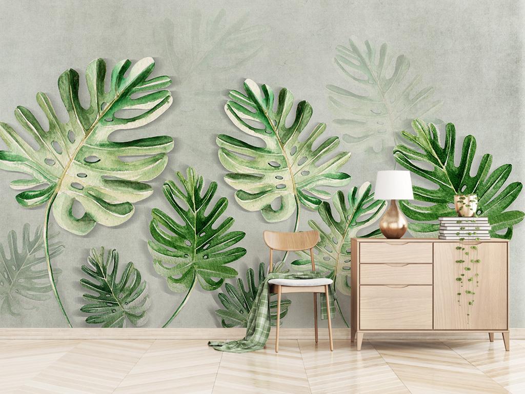 北欧小清新植物叶子龟背叶背景墙