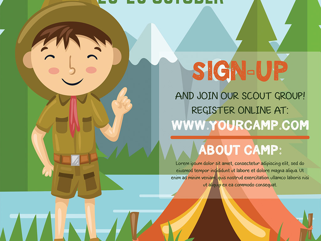 手绘卡通儿童露营郊游夏令营活动创意海报