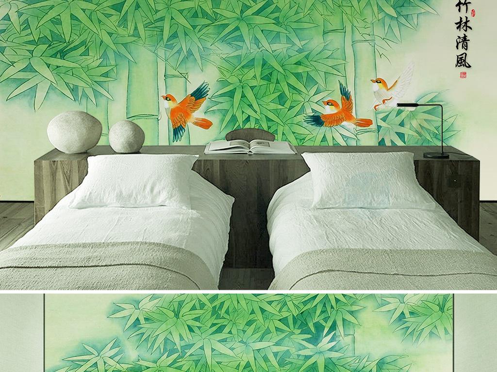 新中式工笔手绘竹林飞鸟背景墙