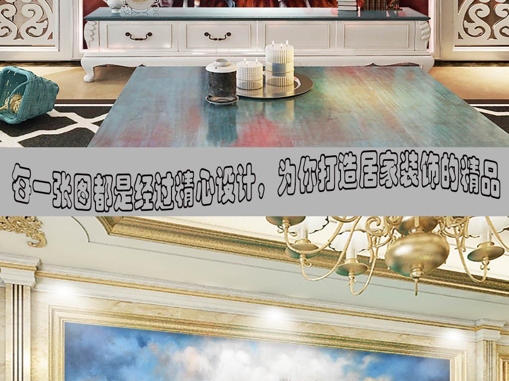 高清立体八马骏图油画背景墙