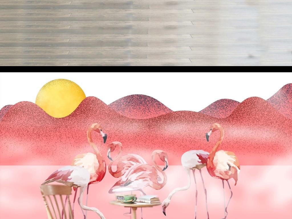 背景墙|装饰画 电视背景墙 手绘电视背景墙 > 现代素雅手绘火烈鸟羽毛