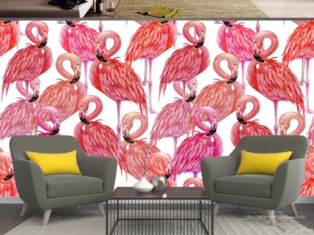 北欧风格火烈鸟手绘背景墙