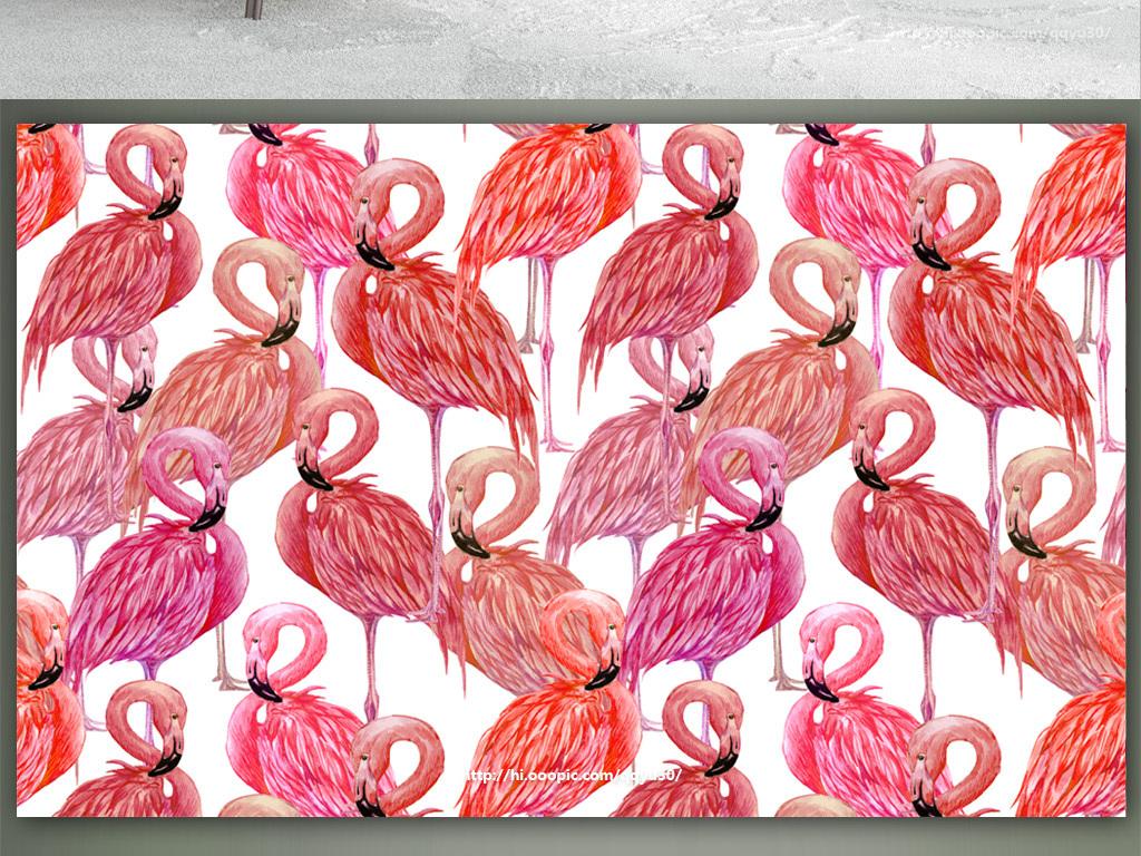 北欧风格火烈鸟手绘背景墙图片设计素材_高清模板下载