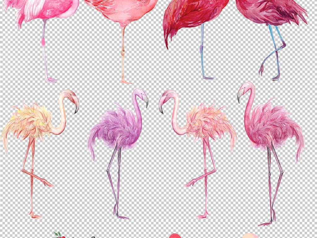 手绘森系火烈鸟背景墙纸壁画免抠png素材