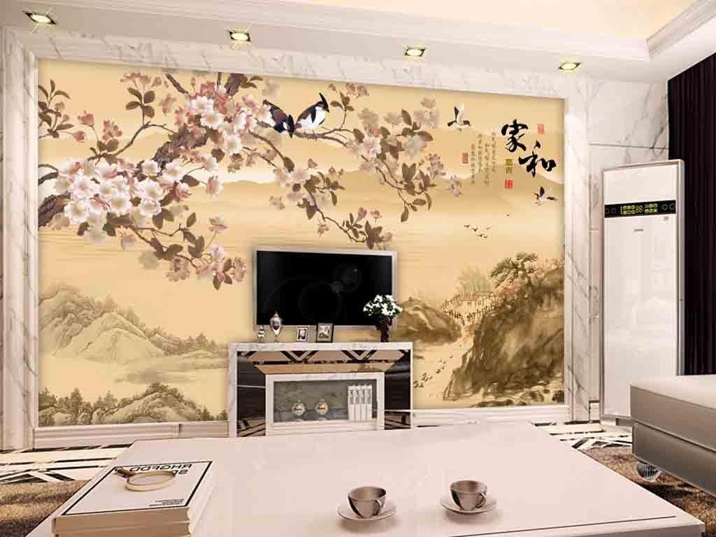 新中式金色彩雕花鸟梨花系列电视背景墙