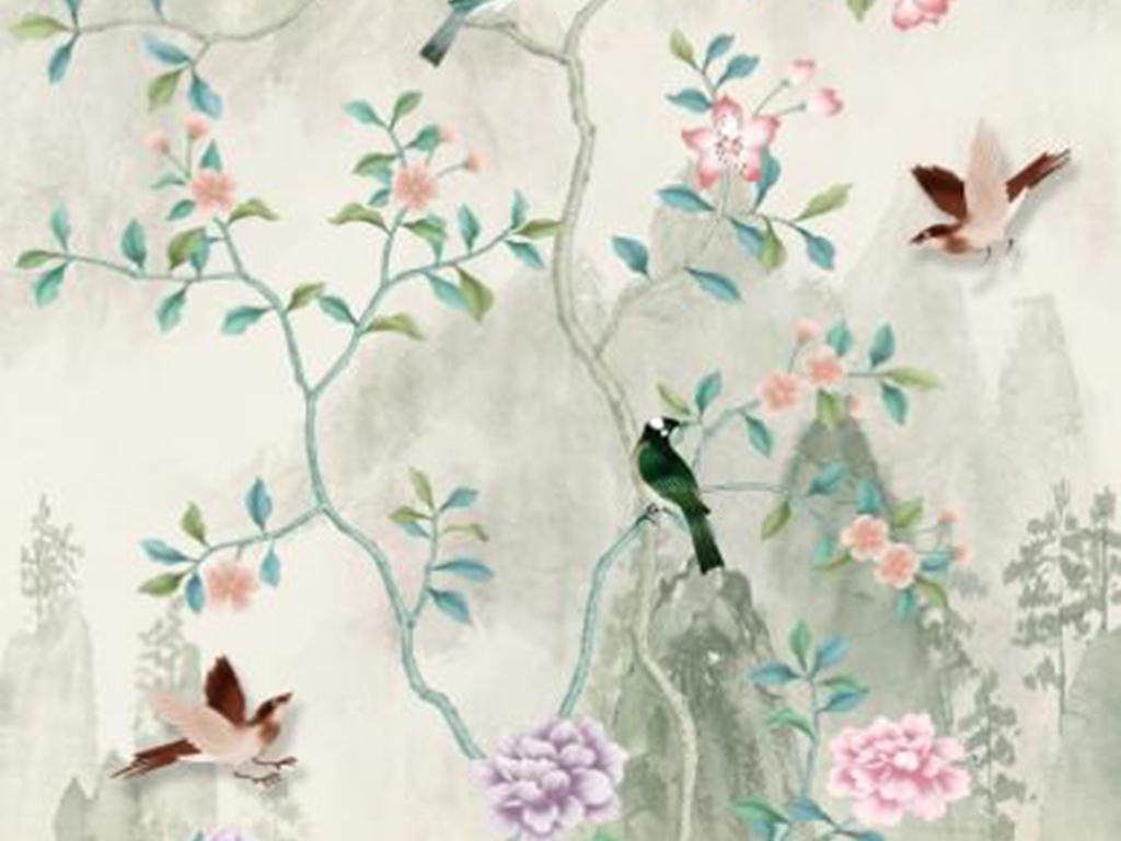 新中式青色山水手绘花鸟系列玄关背景墙