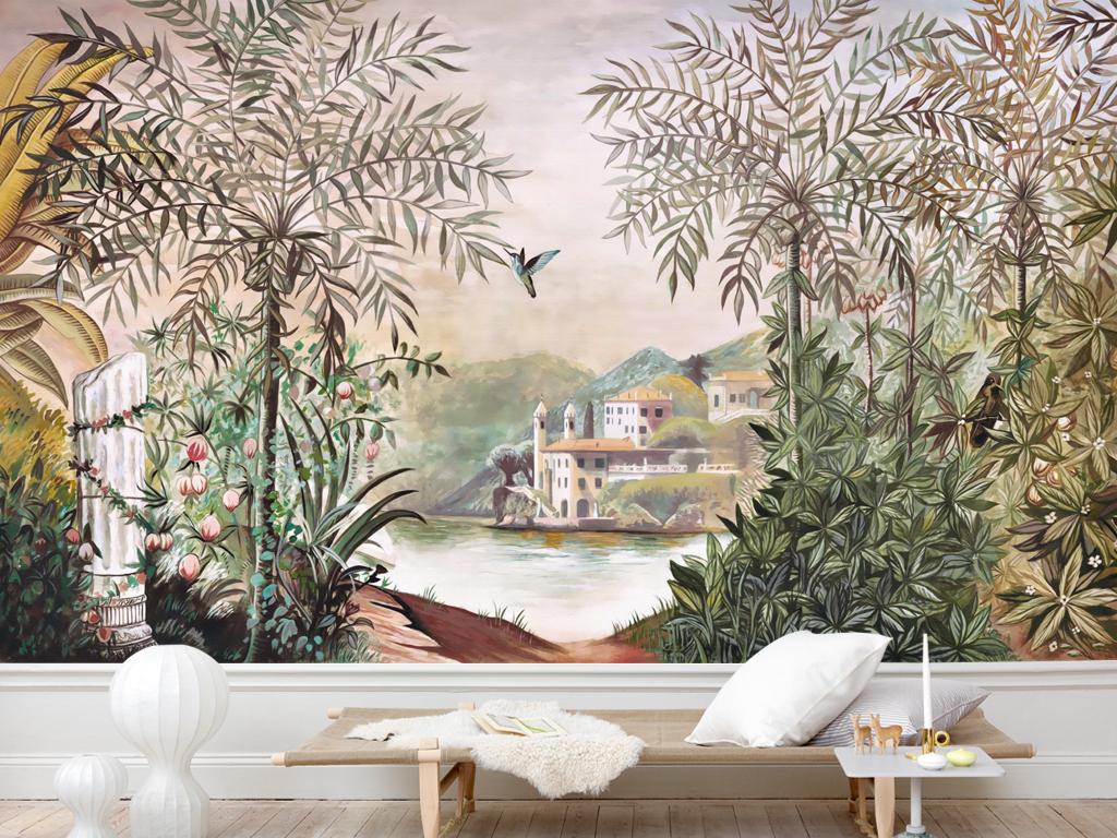 现代怀旧复古雨林田园椰树欧式壁画背景墙图片