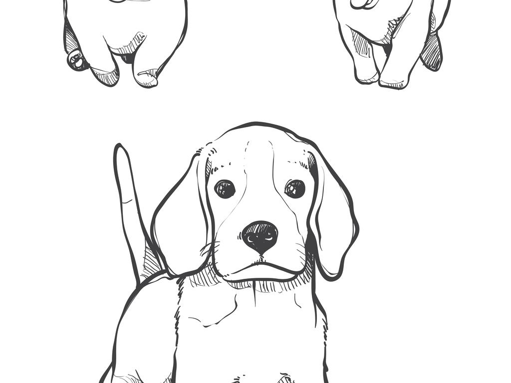 手绘插画狗狗设计矢量元素