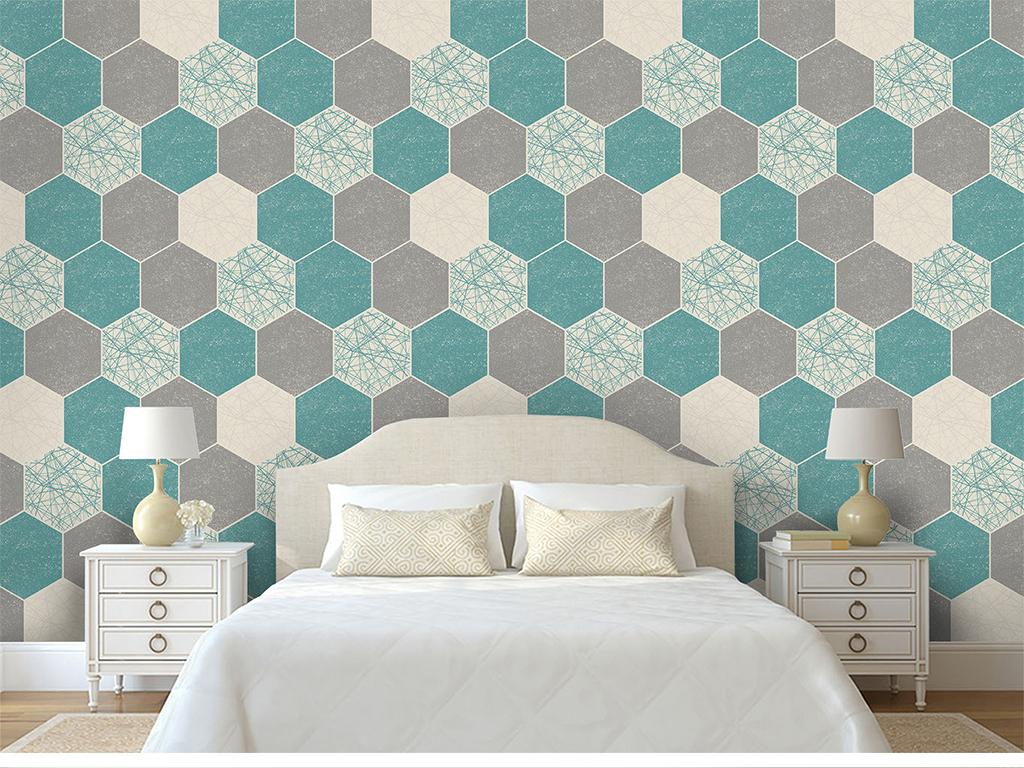 现代简约创意几何菱形六边形立体图案背景墙图片
