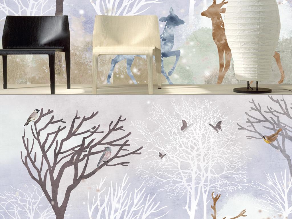 时尚抽象树林梅花鹿麋鹿风景画背景墙