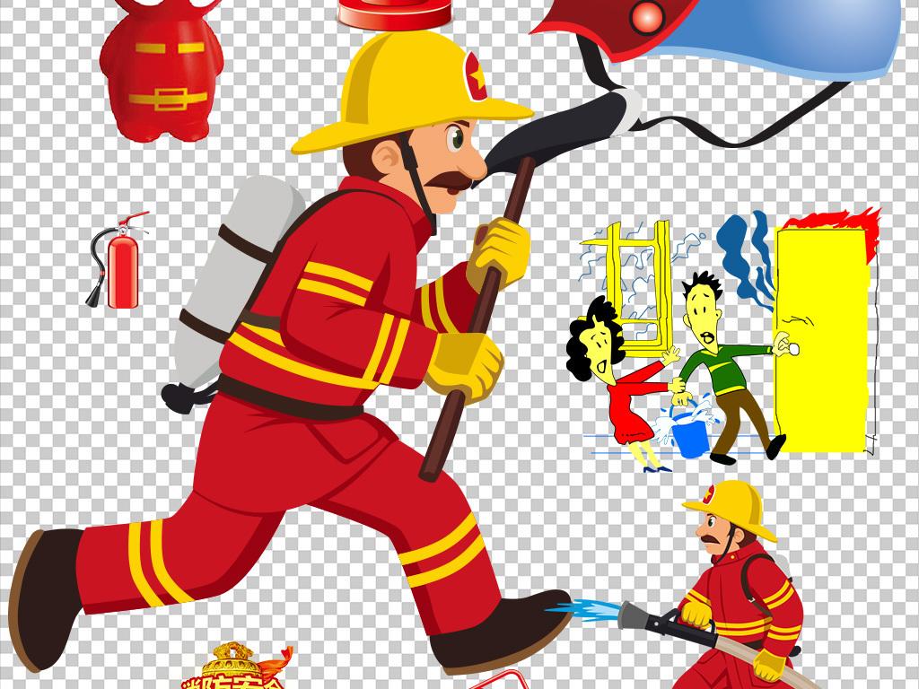 卡通消防安全元素图标110灭火设计海报素材图片下载png素材 效果素材