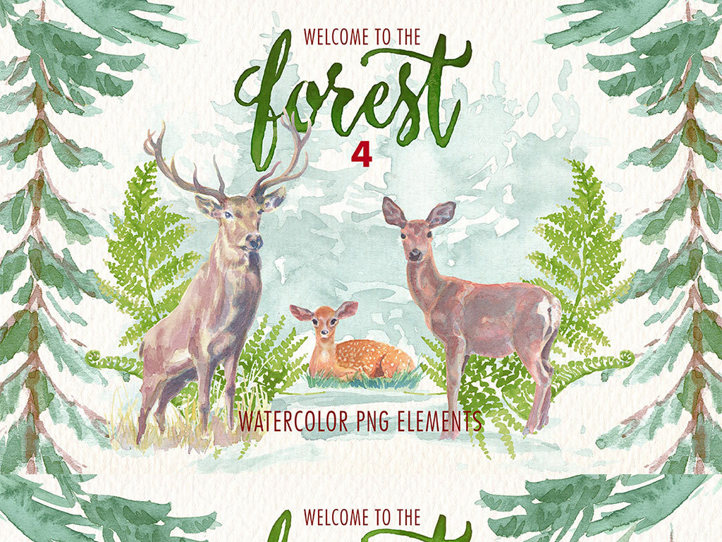 森系婚礼素材鹿树林手绘png素材