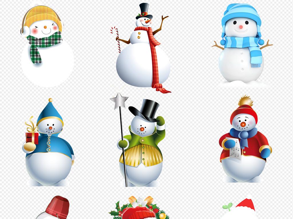 手绘卡通雪人圣诞节冬天png素材