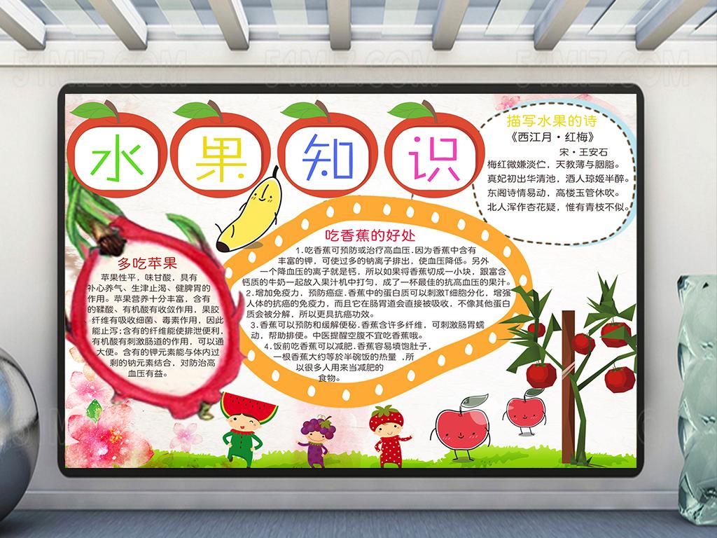 水果知识小报/水果手抄报图片下载psd素材-爱护动植物