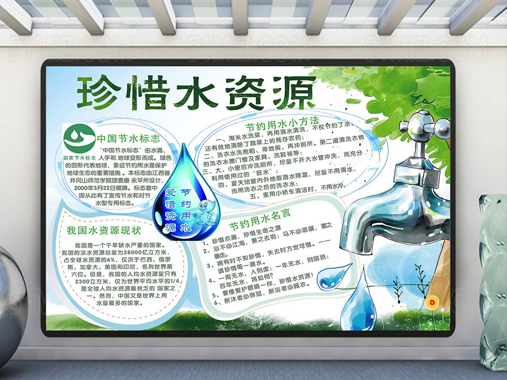 珍惜水资源小报/节约用水手抄报psd模板