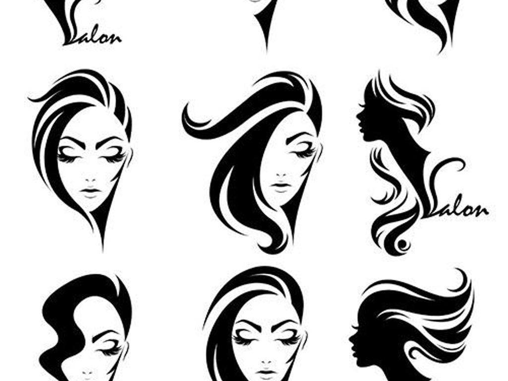 手绘美发店美丽女人发型logo剪影矢量图图片