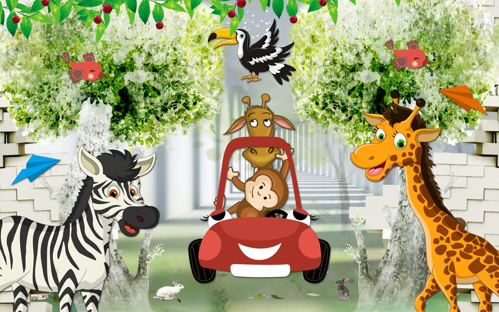 3d卡通儿童房动物总动员小孩房壁画