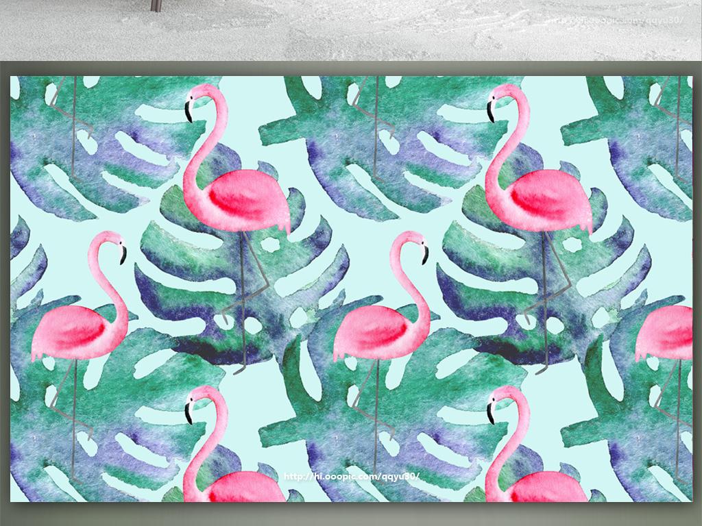 北欧龟背竹火烈鸟手绘背景墙