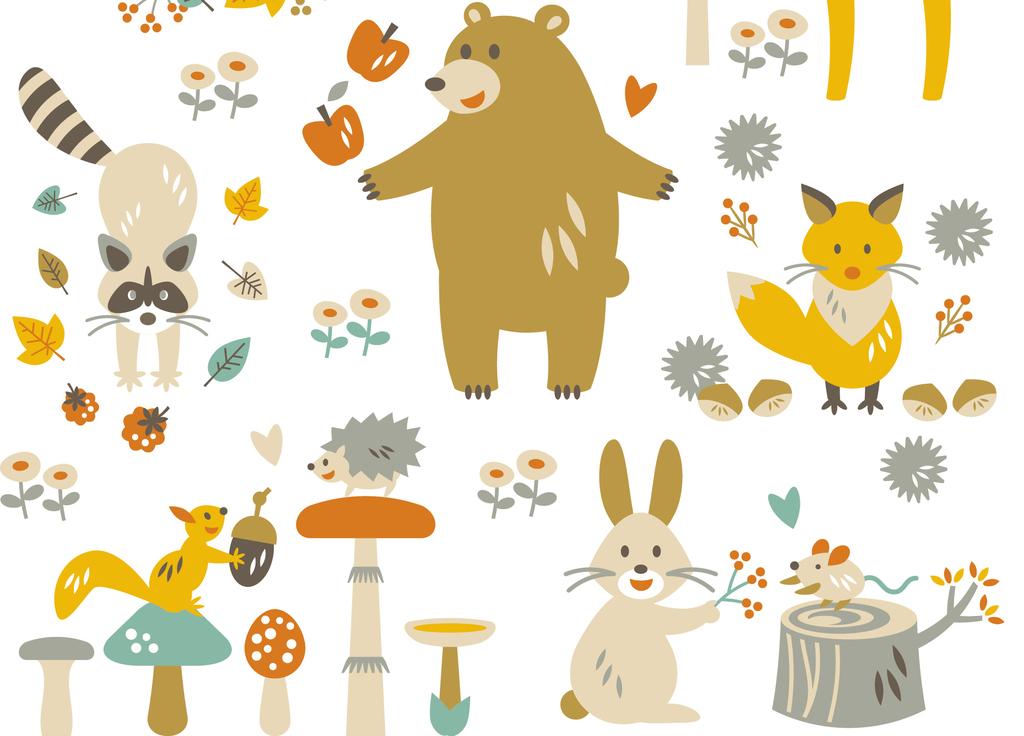 2017手绘北欧森系可爱动物底图矢量素材