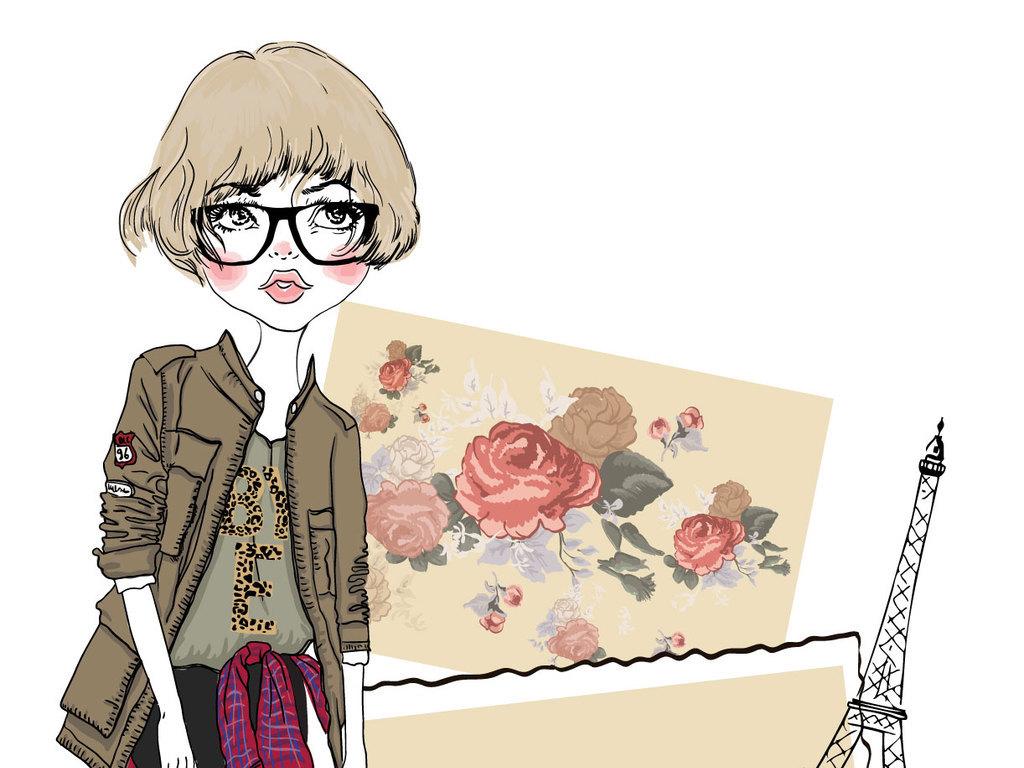 可爱甜美戴眼镜的女孩手绘卡通素材