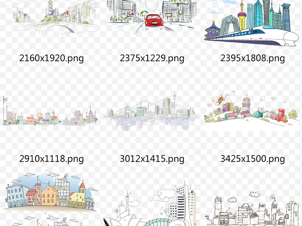 现代手绘城市简笔画建筑卡通背景png装饰图片素材 模板下载 20.93MB