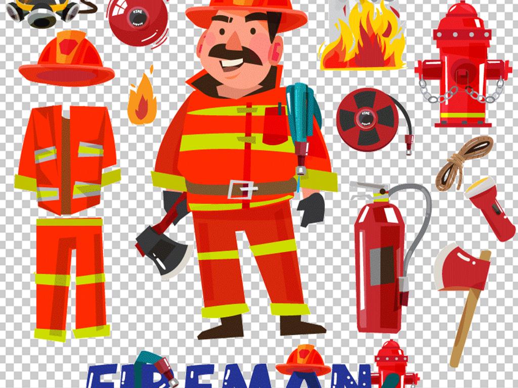 卡通消防安全矢量消防车员灭火器设计素材图片下载ai素材