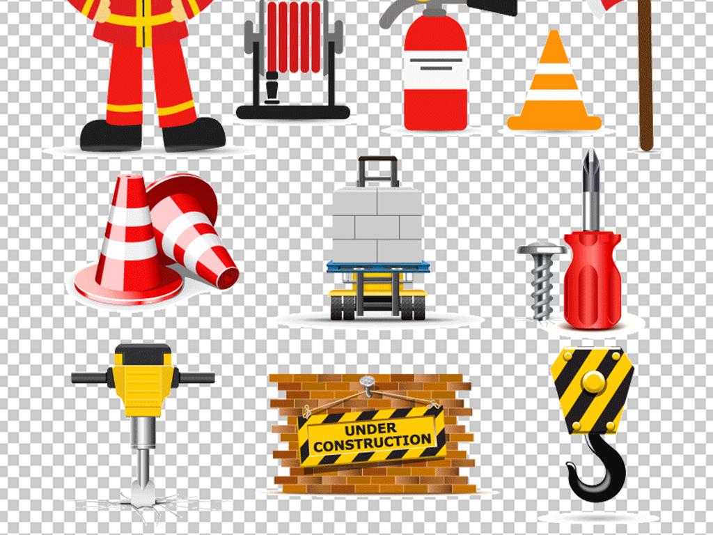 卡通消防安全矢量消防车员灭火器设计素材图片 高清ai模板下载 13.06MB 其他大全